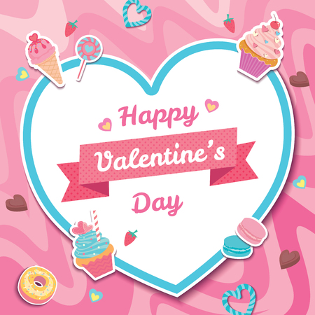Illustration vector of sweet dessert design with heart frame for Valentine's day on pink background. Vector Illustratie