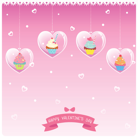 Illustration vector of cupcakes design with heart frame for Valentines day on pink background.