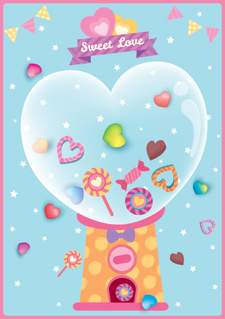 Heart candy in vending machines design for Valentine's day. Banque d'images - 118626512