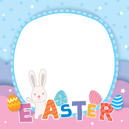 Happy Easter design with painted eggs colorful on pastel background.