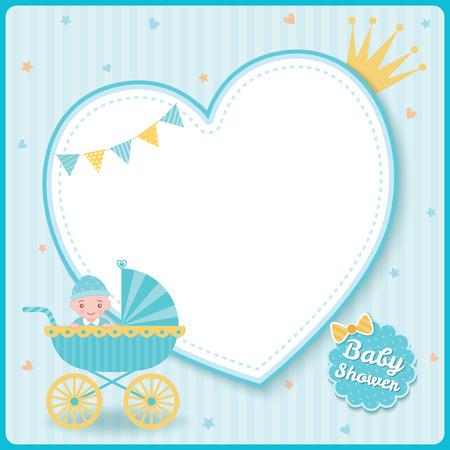 Tarjeta de felicitación de ducha de bebé para niñas recién nacidas decorada con cochecito de bebé sobre fondo de marco de corazón azul.