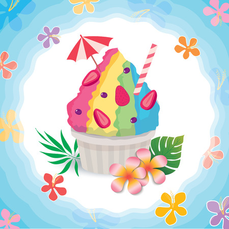 Vector of shaved ice decorated with flower and palm leaf on water background design for summer season.