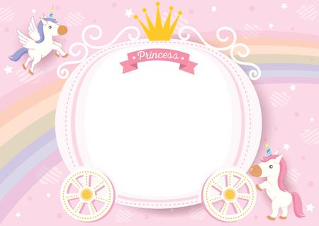 Vector de ilustración de carro de princesa lindo decorado con corona y unicornio en diseño de fondo rosa y arco iris para marco y plantilla.