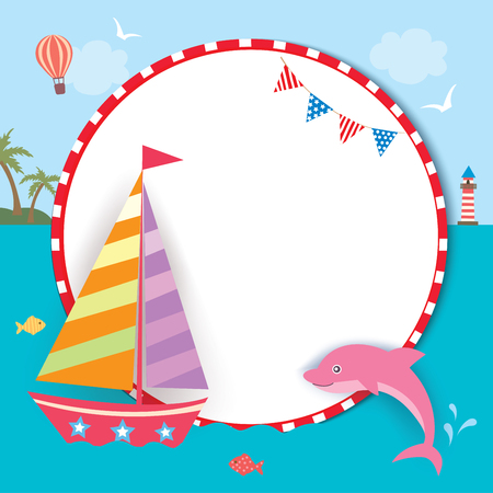 Illustration summer of cute sailboat and pink dolphin with frame on ocean background