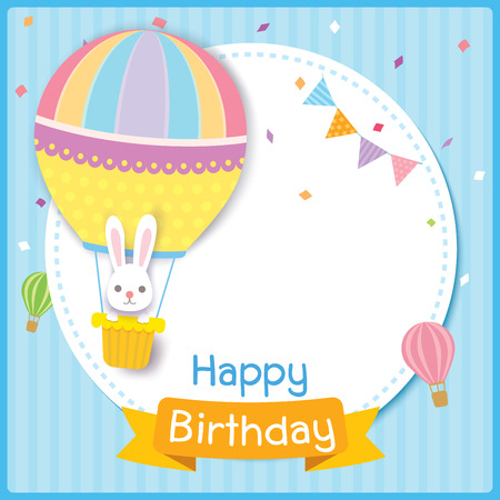 Vector of Birthday card design with rabbit on balloon. Illustration