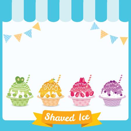 Vektor von Shaved Ice verschiedene Geschmacksrichtungen mit Fruchtbelag.
