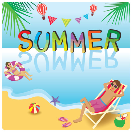 Vector of summer design with activities on beach background.