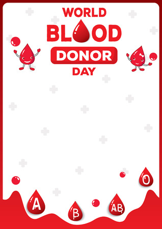 Illustration vector of  World Blood donor day poster design with blood type Illustration