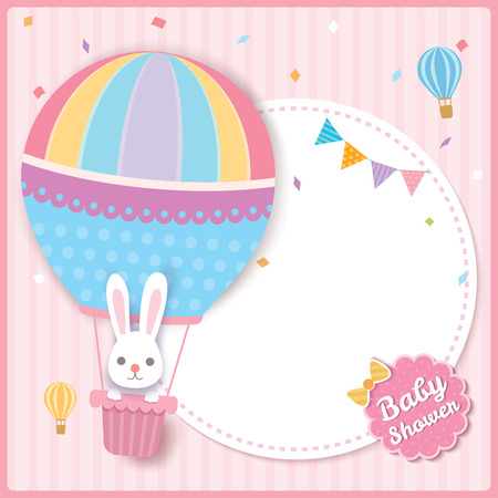 Baby shower card design with rabbit on balloon.