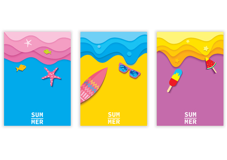 Illustration of colorful background design with summer element set cover or template.