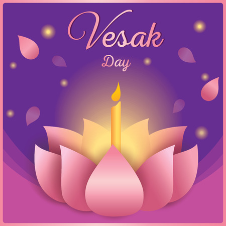 Illustration vector of Vesak day design with pink lotus and candle on purple background.