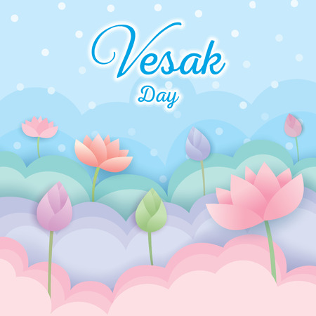 Illustration vector of Vesak day background design with pastel of lotus flowers 矢量图像