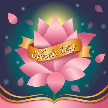 Illustrazione vettoriale di Vesak day design con sfondo di loto rosa.