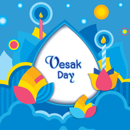 Illustration Vesak day design with lotus flowers on blue background.