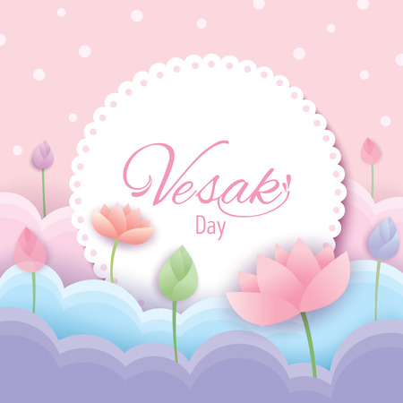 Illustration vector of Vesak day pink background design with pastel of lotus flowers