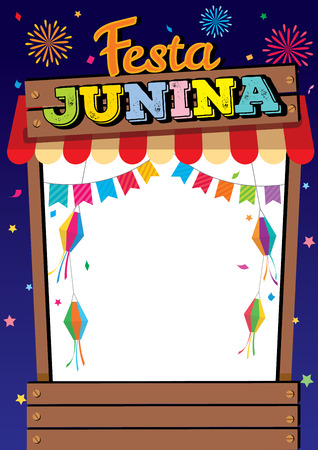 Illustration vector of Festa Junina design with wood booth frame on night party background.
