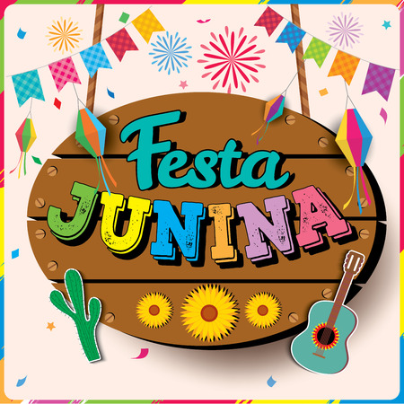 Illustration vector of Festa Junina design with wood sign colorful buntings and fireworks for patry.