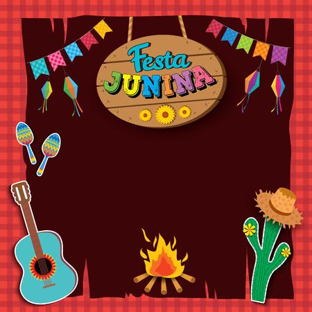 Illustration vector of Festa Junina design with wood sign on red tartan background.