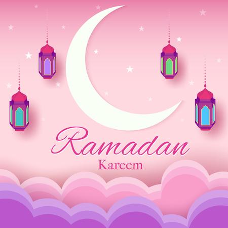Illustration vector of Ramadan kareem card design with moon and lantern on pink background