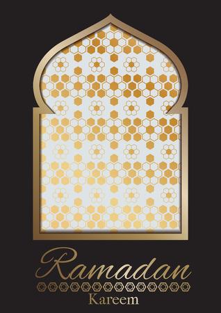 Illustration vector of Ramadan kareem card design with mosque gold frame on black background.