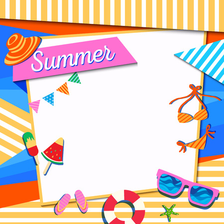 Illustration vector of Summer frame decorated with accessories on colorful background. 版權商用圖片 - 122868716