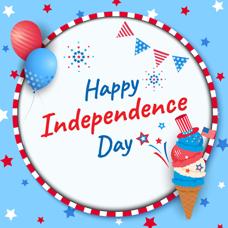 Happy Independence day United states of America, 4th Jul ice cream. Design to icon with circle frame decorated with balloons. Vector Illustration