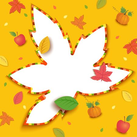 Illustration vector of Autumn season design with maple leaf and frame background