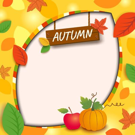 Illustration vector of Autumn season design with maple leaf and frame and wood sign background