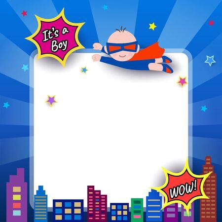 Illustration vector of Baby shower design with super hero boy on blue background. Vector Illustration