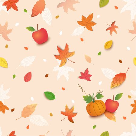 Illustration vector of Autumn season decorated with maple leaf pumpkin and apple design to seamless pattern