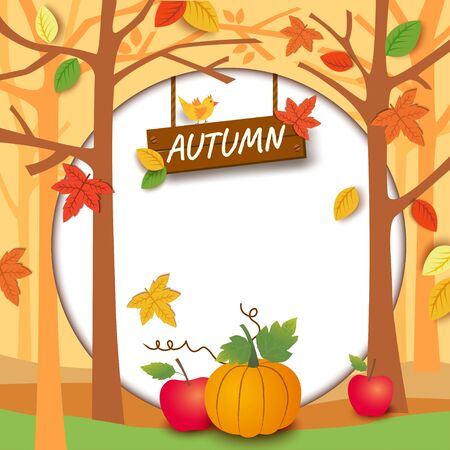 Illustration vector of Autumn season design with maple leaf and tree on circle frame with wood sign background Illustration