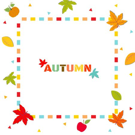 Illustration vector of Autumn season design with maple leaf and frame on white background.
