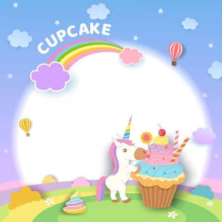 Illustration vector of rainbow cupcake and unicorn with pastel color