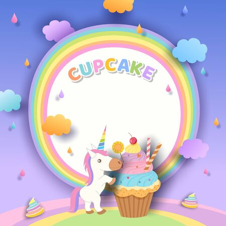 Illustration vector of cupcake and unicorn with rainbow frame