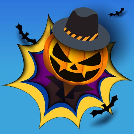 Illustration vector of Happy Halloween with pumpkin head monster emerge from the hole on blue background