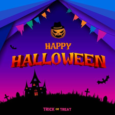 Happy Halloween with typography and graveyard background.