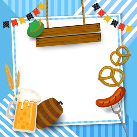 Oktoberfest festival frame design with beverage and food on blue pattern background. Ilustração