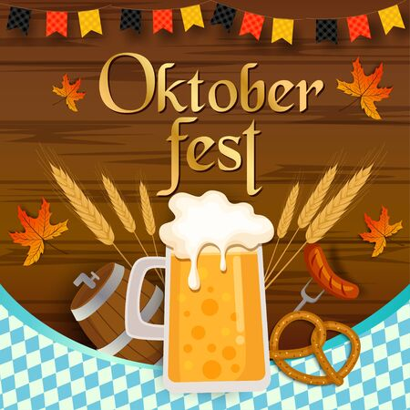 Vector of Oktoberfest festival design with wooden plank background and beverage and food.