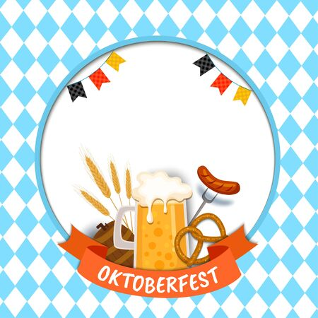 Illustration vector of Oktoberfest with food and drinkl on blue pattern background