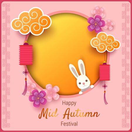 Illustration vector of Mid Autumn Festival with moon and bunny decorated with lantern and flowers on pink background.