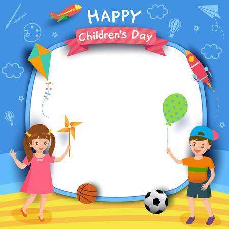 Feliz día del niño con niño y niña jugando sobre fondo azul. Ilustración de vector