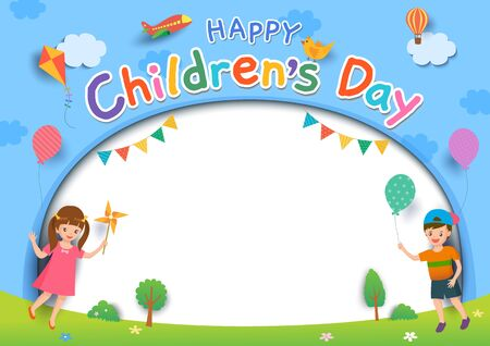 Happy Childrens Day with boy and girl playing toys on lawn background. Stock Illustratie