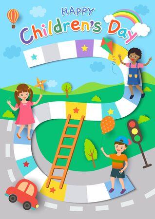 Diseño de carteles del día del niño feliz con niños y niñas jugando en el fondo del juego. Ilustración de vector