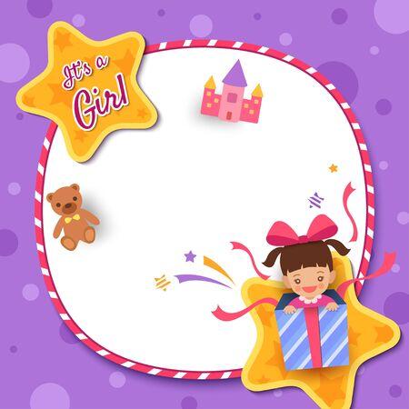 Carte de voeux de douche de bébé avec une fille dans une boîte présente décorée d'un cadre circulaire et d'une étoile sur fond violet