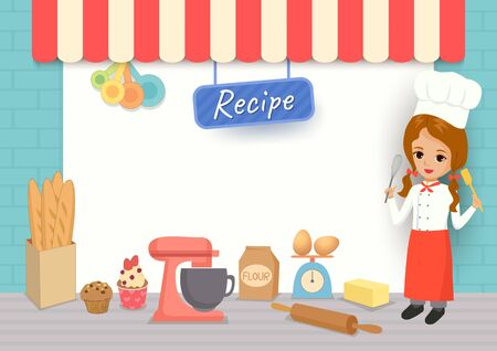 Illustration vector of bakery recipe template with cute girl chef and baking Equipment