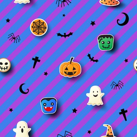 Illustration vector of Halloween party with cookies monster symbol design to seamless pattern on blue purple stirpe background.