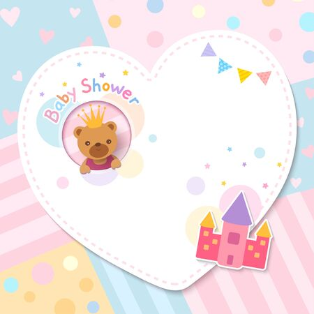 Baby shower card design with bear and castle toy on heart frame and pastel background.