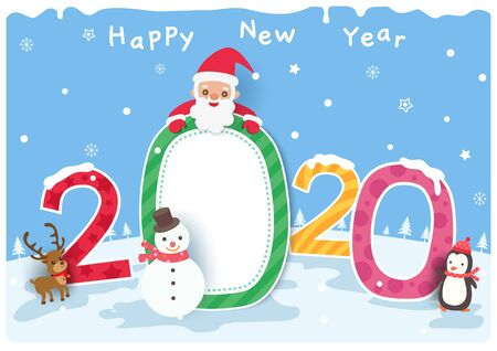 Happy New Year of 2020 design with santa claus and snowman on snow background.