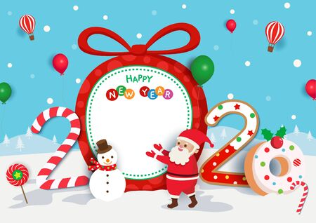 Illustration of Merry Christmas holiday and Happy New Year of 2020 design with sweets candy and santa claus on snow background.