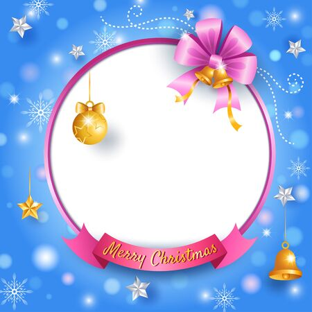 Merry Christmas an Happy New Year blue background decorated with pink golden bow and ornaments on frame.